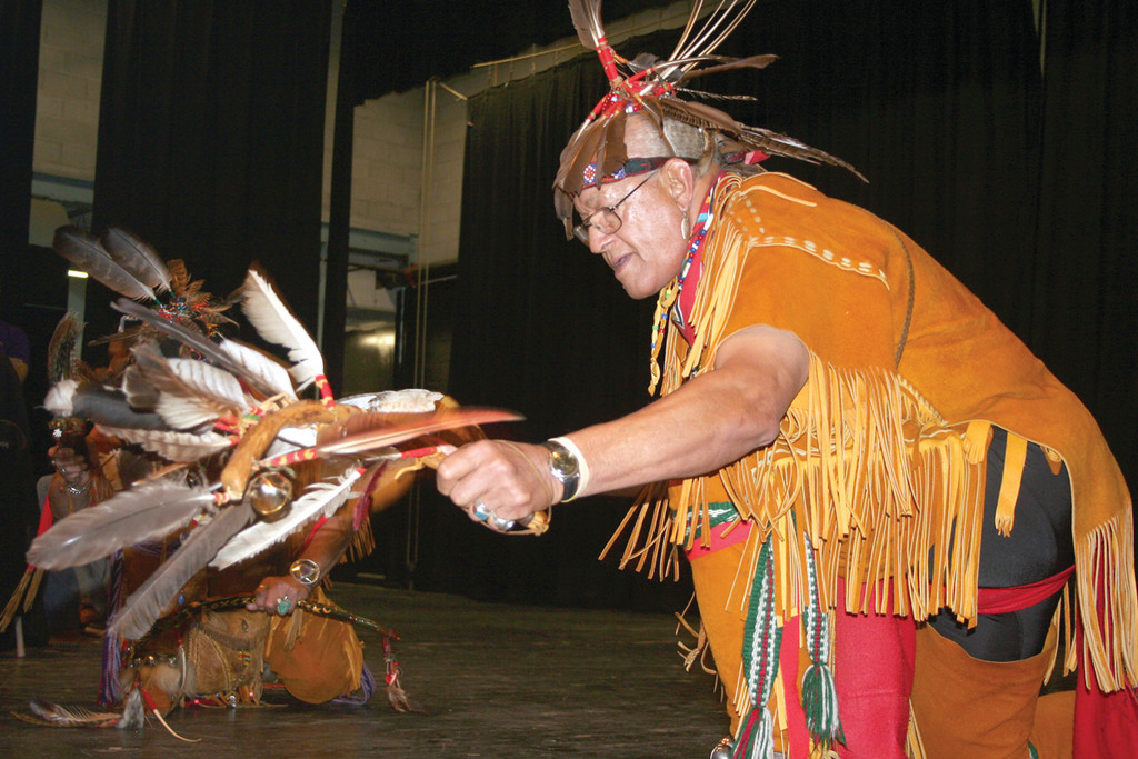 "SPECIAL DANCE: To educate students at Pilgrim High School about Eastern American culture, a handful of tribes visited the school on Friday and shared facts about their cultures. The Native Americans created a drum circle and performed ceremonial dances, such as shown by Harry ""Hawk"" Edmonds."