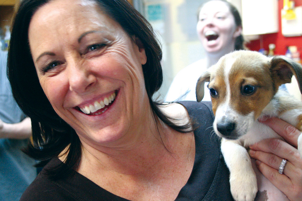 NEEDS A HOME: Tammy Flanagan with one of the adoptable dogs.