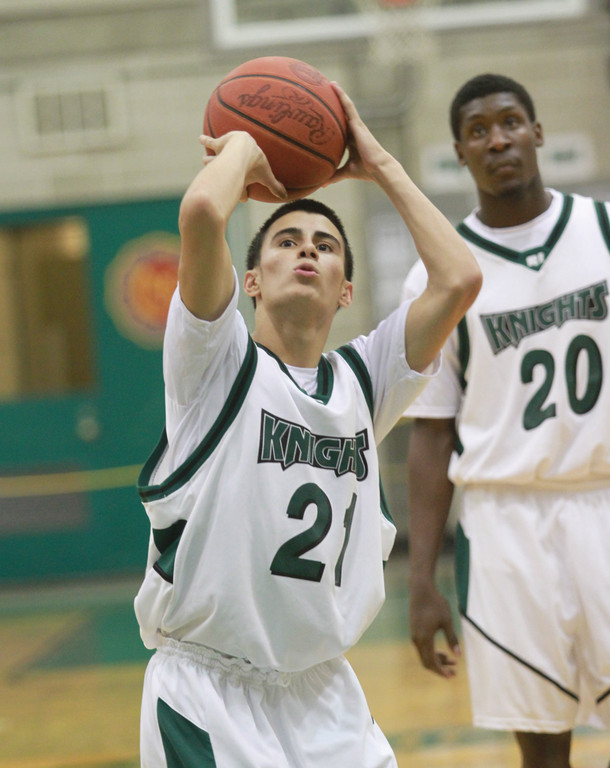 Former Cranston West standout Bryan Yarce gets ready to take a foul shot during game action this season.