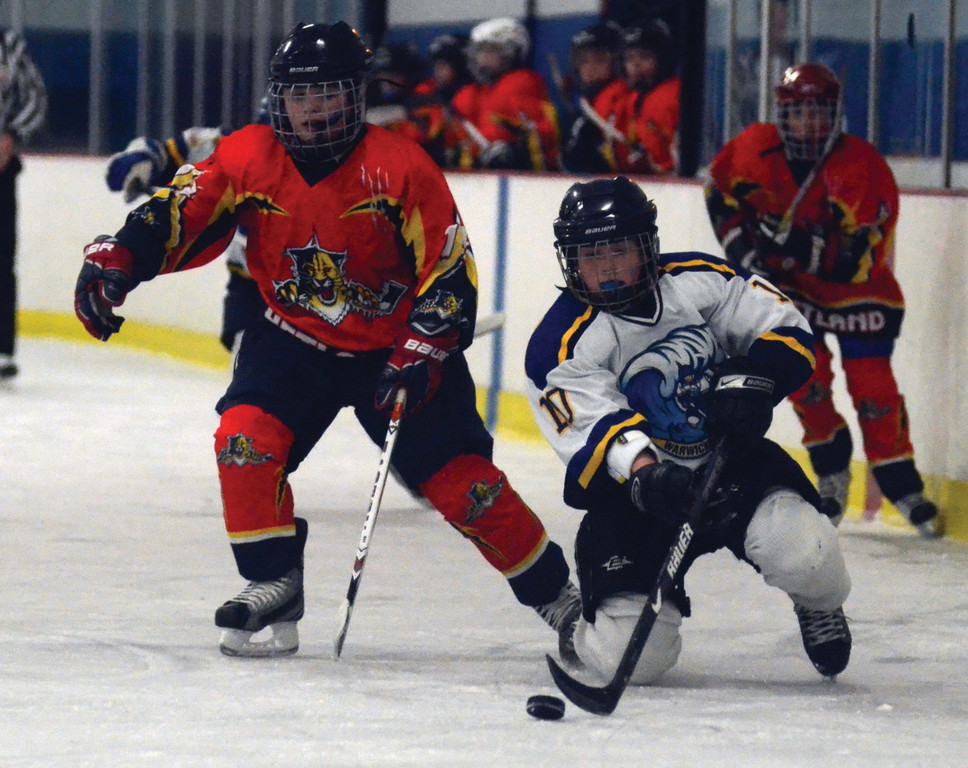 Connor Sullivan corrals the puck for the WJHA PeeWees.