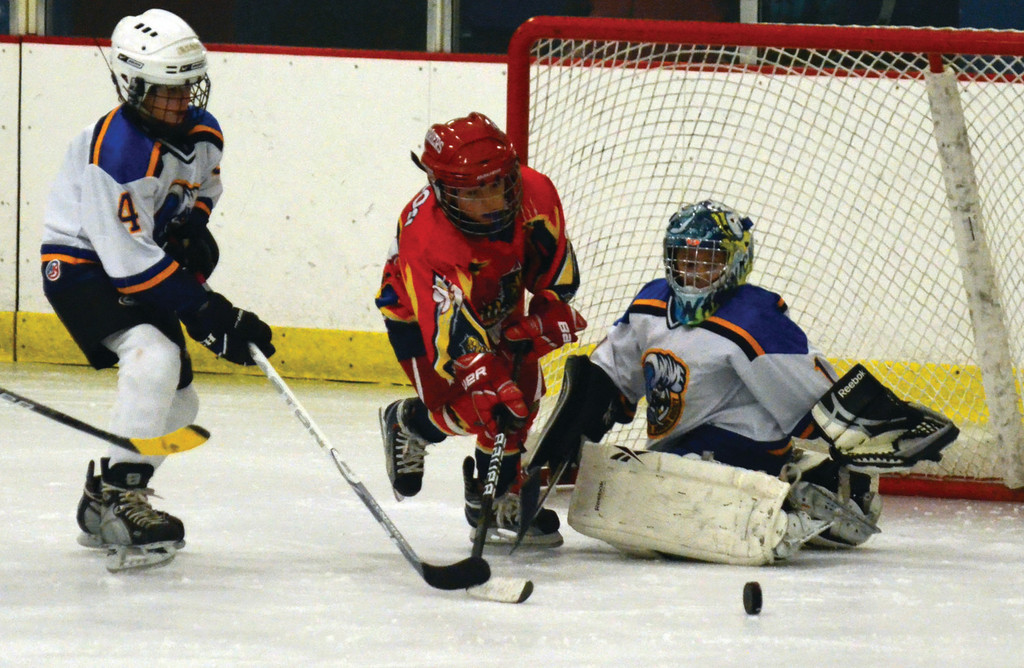 Defensmane Ryan Sabol and goalie Anthony Oliveira try to stop a rush for the Squirt Blues.