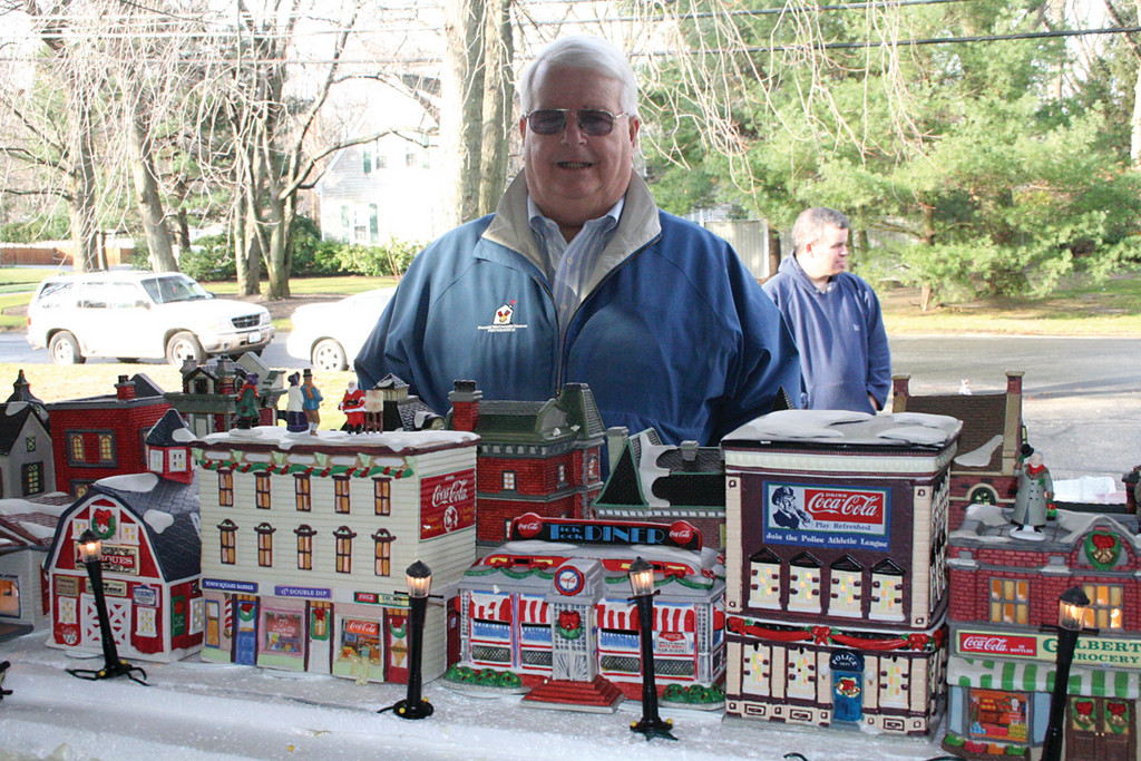 MINI VILLAGE: Cunningham has been displaying his mini village, which started off with five houses, since 1989. Now, he has 210 ceramic pieces in his collection.