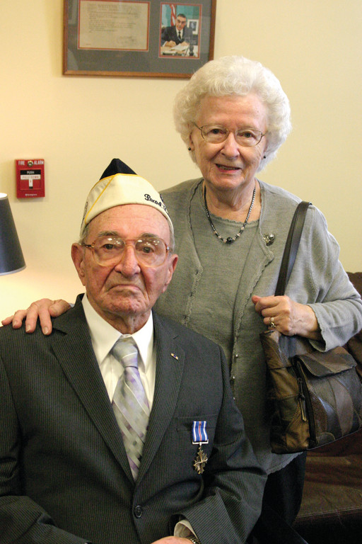SURVIVORS: On Monday, Senator Jack Reed presented Warwick resident Bernard Creswick and his wife Ruby with some belated military honors for Bernard, who is a veteran of the Japanese attack on Pearl Harbor.