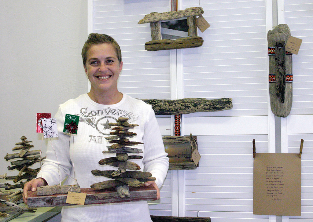 DRIFT AWAY: Newport resident Holly Wesman creates driftwood photo frames, jewelry stands, hat holders that can also be used to present seasonal decorations.