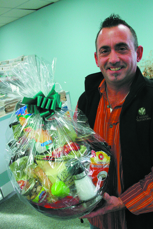 TOP CHEF: Michael Latour with his prize basket from Baker's Basket, a $100 value.