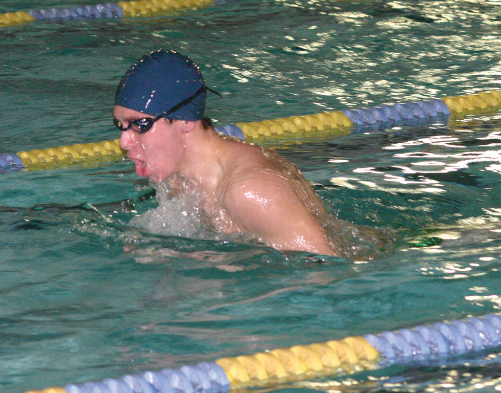 UP FOR AIR: Hendricken's Andrew Robinson competes in the breaststroke on Tuesday.