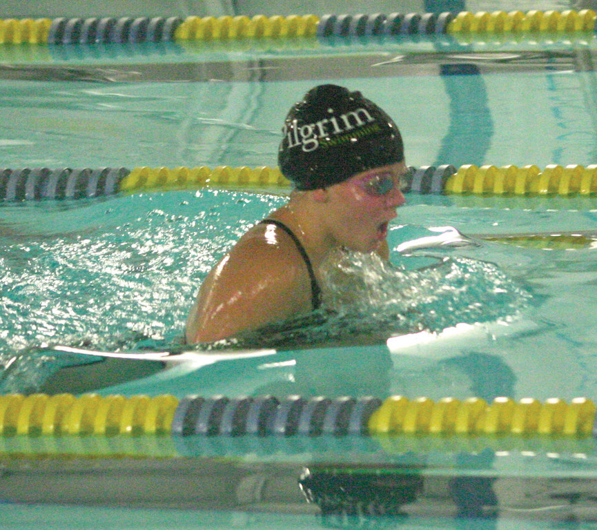 UP FOR AIR: Pilgrim's McKenzie Caron is a freshman and part of a group of young swimmers that is giving the Pats hope for this season and for the future.