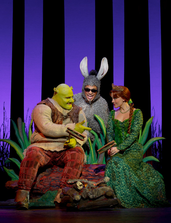 "Lukas Poost as Shrek, Andre Jordan as Donkey and Liz Shivener as Princess Fiona in ""Shrek: The Musical"" 2011-2012 national tour."