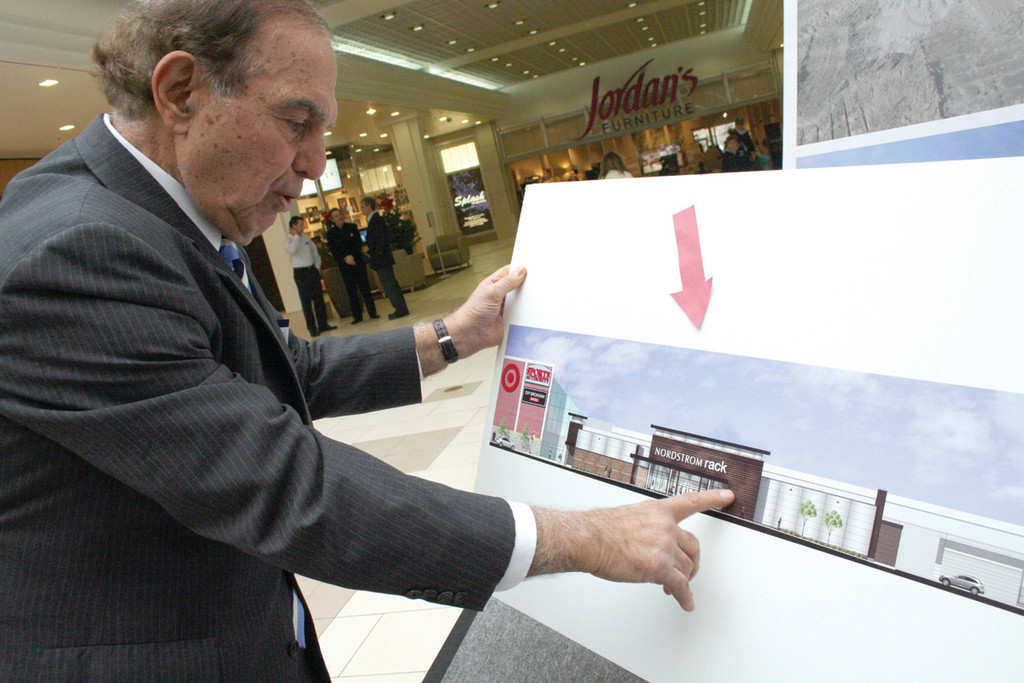 MALL ADDITION: Aram Garabedian, managing partner of the Warwick Mall, points out the Nordstrom Rack now being built as an addition to the Mall. It is projected to open next fall.