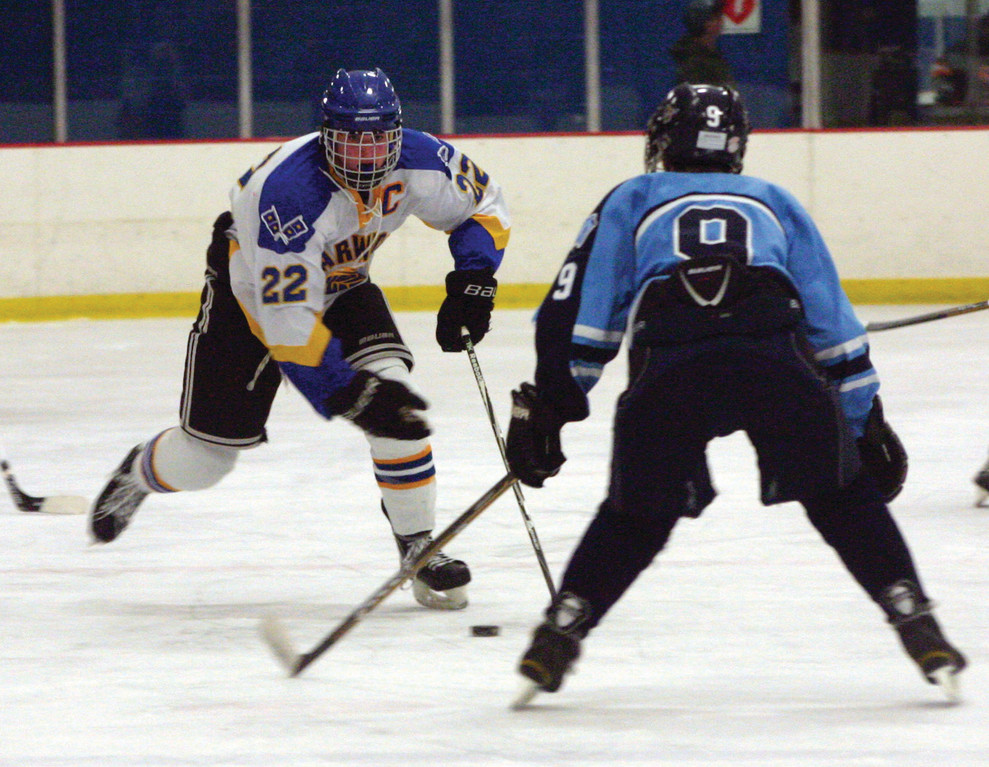 ON THE MOVE: Vets' Dakota Hersey carries the puck up the ice during Friday's game against JNP.