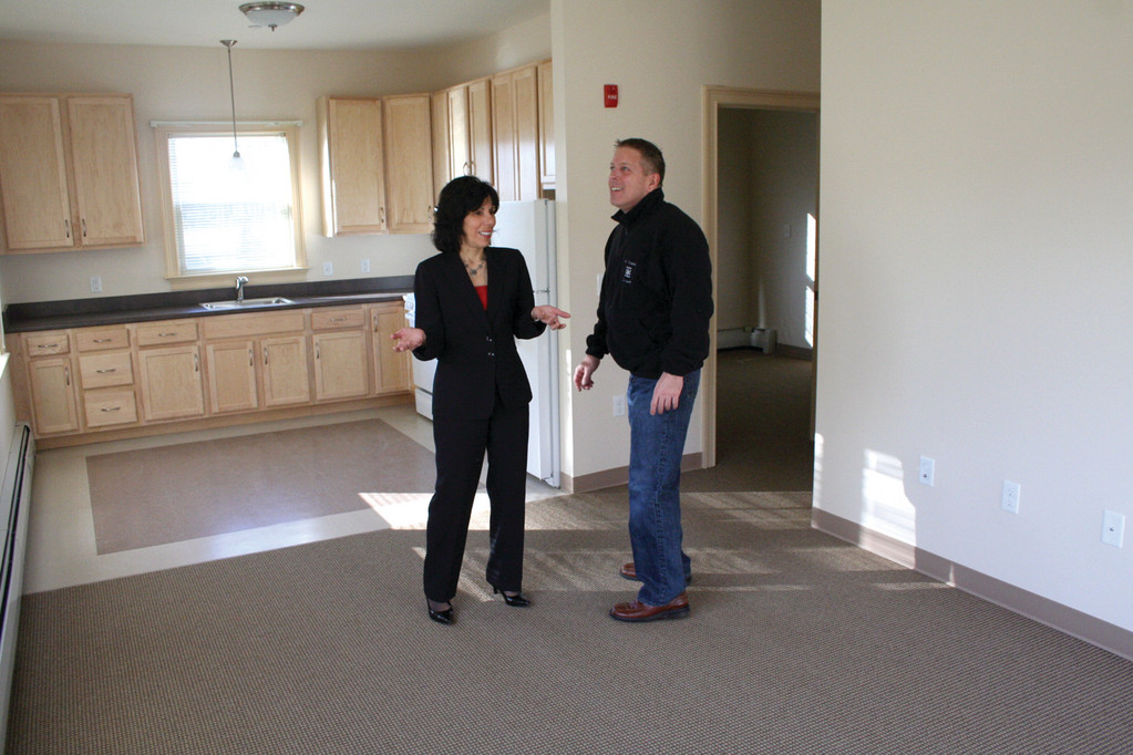 NEW UNIT: Roberta Merkle and Ken Cote check out one of the 34 units in Saint Elizabeth Terrace that is completed and expected to open soon.