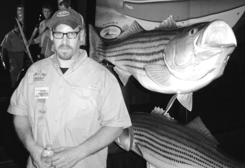Greg Myerson of Westport, Conn., with the world record 81.8-pound striped bass he caught this summer. Greg was a speaker at the Saltwater Sportsman National Seminar Series held this past Saturday at Mohegan Sun.