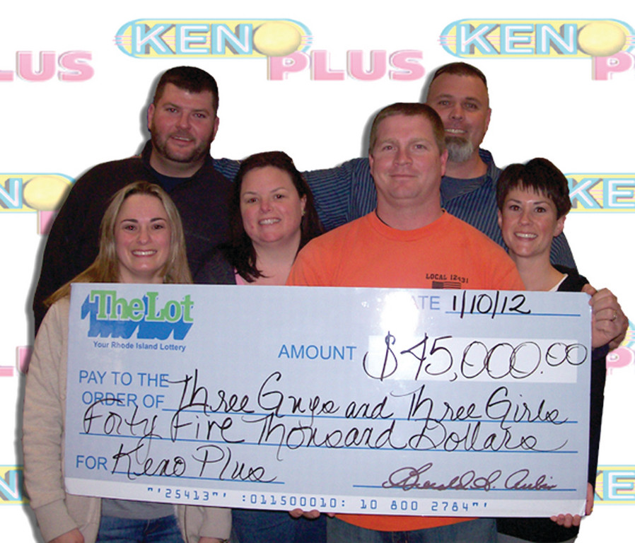 THAT'S THE TICKET: Six friends won $45,000 playing Keno Plus on Friday night at Picasso's Pizza and Pub at 2323 Warwick Avenue after spending $2 on a bet slip. Each of them selected a number and they collectively decided on a seventh, which multiplied their winnings by 10. Front row from left are Elizabeth McLeod, Christina Degaetano, Kevin Gorman and Kendra Gorman.  Back row from left are Nicolas Murray and Greggory Rossi.
