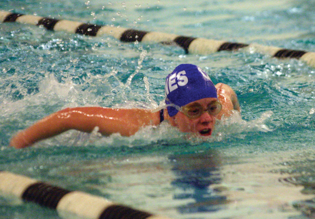 WATER WORKS: Vets' Katie Evans comes up for air in the butterfly during Monday's meet. Evans leads the way for Vets this season.