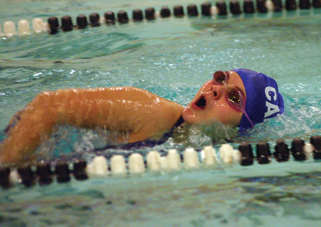 ON THE MOVE: Vets' Laura Paulin competes in a freestyle event during Monday's meet with Smithfield.