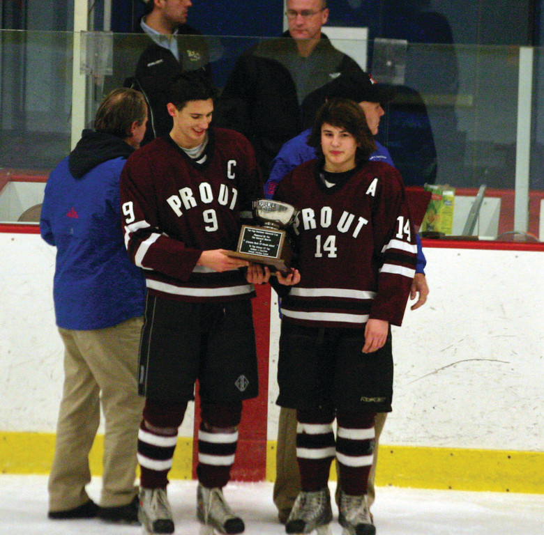 Prout captains Andrew Horsfield and Dean Bogda with the Hap Mathews Cup.