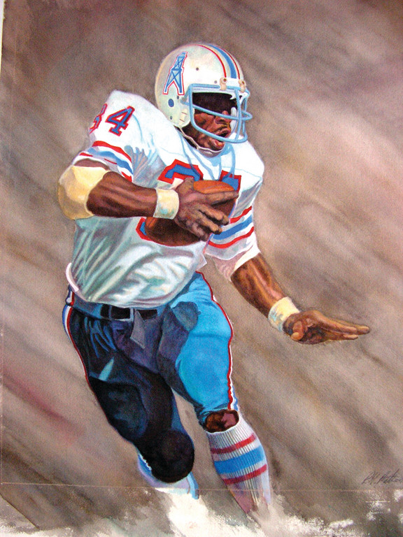 Here is a painting by Mathews of Houston Oilers running back Earl Campbell.
