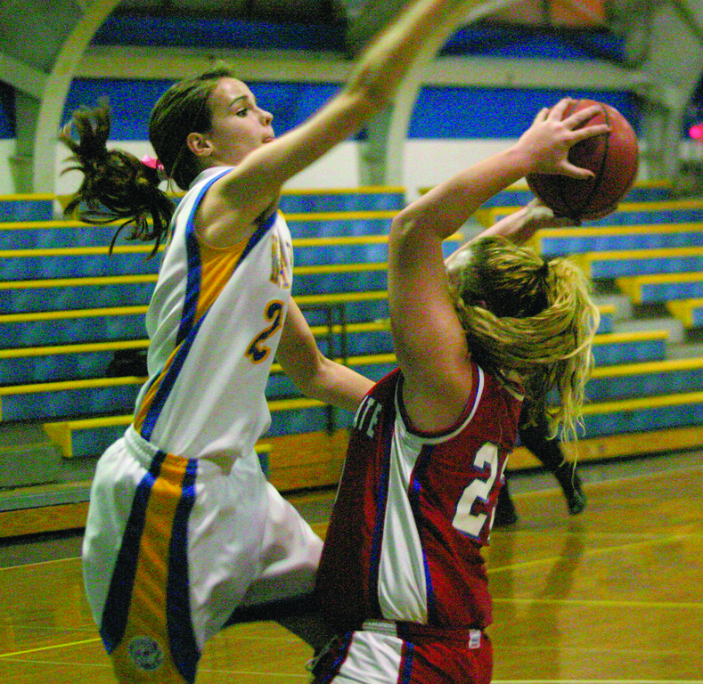 SWATTING IT: Vets' Katie Gregory goes up to block a shot from Toll Gate's Nicole Fraser on Friday.