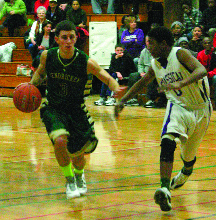 DRIVING: Hendricken's Corey Palumbo heads to the basket in Friday's game against Classical.