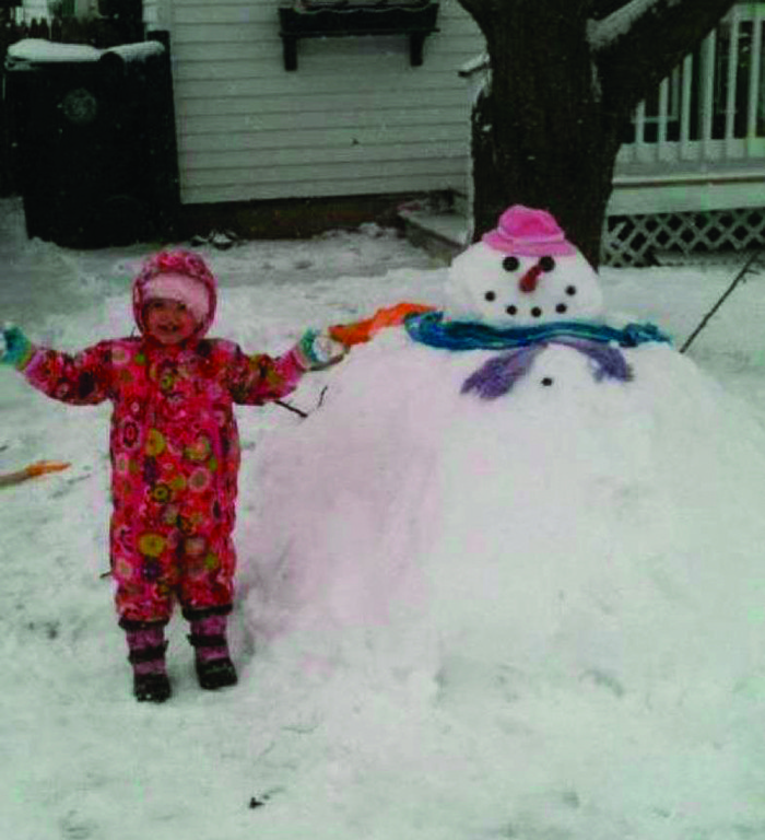 ONE BIG SNOWWOMAN: Lilly Pigeon of Warwick shows off her snowwoman creation, Frostina the Hutt, modeled after Jabba the Hutt from Star Wars, from her front yard in the Riverview section of the city.
