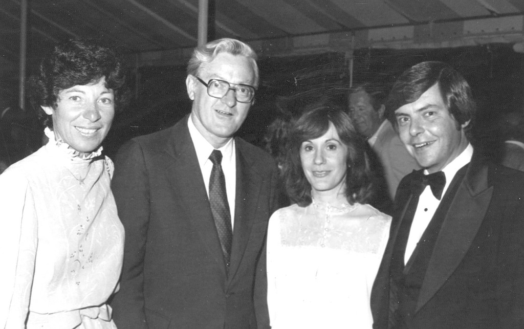 A FAVORITE NEWSMAKER: Governor J. Joseph Garrahy and his wife, Margherite chat with the late Channel 10 news anchor Doug White and his wife Barbara during a fund raising event in the 70s.