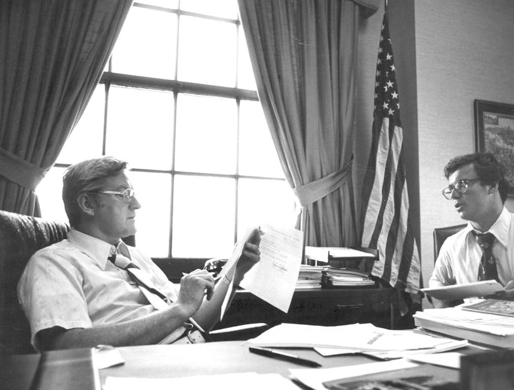 DAYS OF AN AID: Michael Ryan goes over details with then Lt. Gov. J. Joseph Garrahy in a photo that was taken about the time of Garrahy's campaign for governor.
