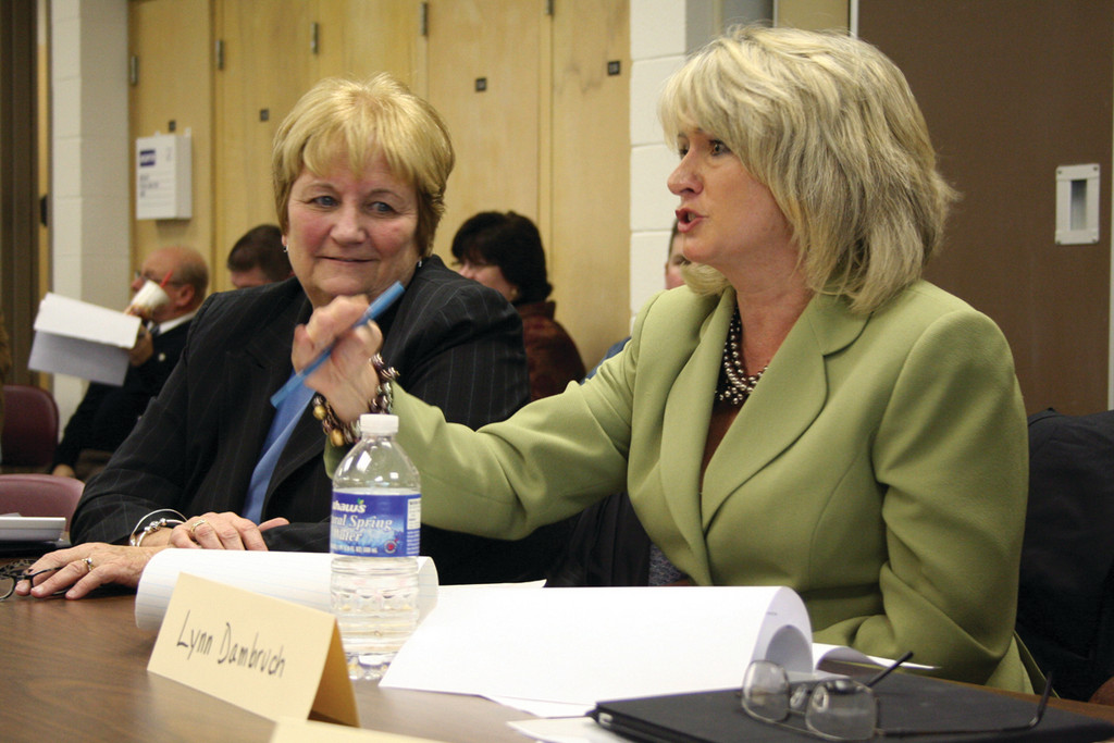 THINKING LONG-TERM: Norwood School Principal Nancy Plumb, left, and Robertson School Principal Lynn Dambruch reasoned that the department needs to look at impacts on elementary schools when considering consolidation of secondary schools.