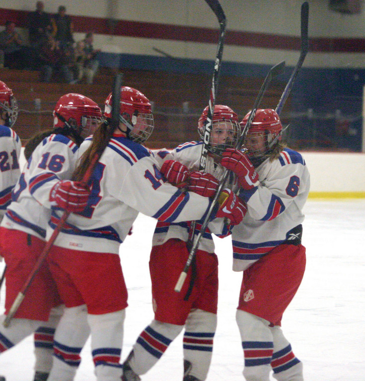 NEW TERRITORY: The Warwick girls' hockey team celebrated Emily Fox's game-winning goal on Saturday, giving the team its record-setting seventh victory of the season.