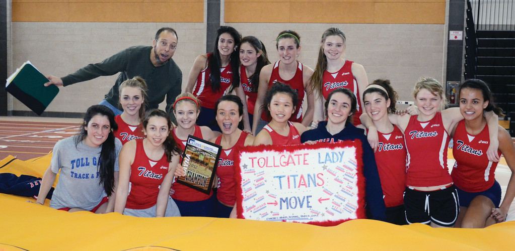 CHAMPS AGAIN: The Toll Gate girls' indoor track team poses for photos after winning the Bayha Division championship on Saturday.