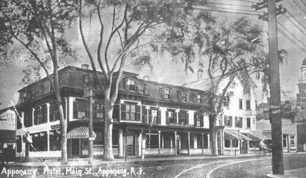 During the late 19th and early 20th centuries, the Apponaug Hotel played host to visiting businessmen who came to deal with the Apponaug Company.
