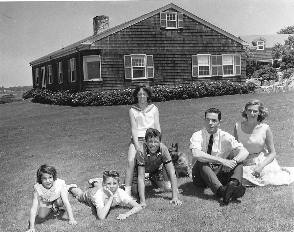 The Pell family in 1960 at their Newport home, a modest one-story house that Pell himself designed.