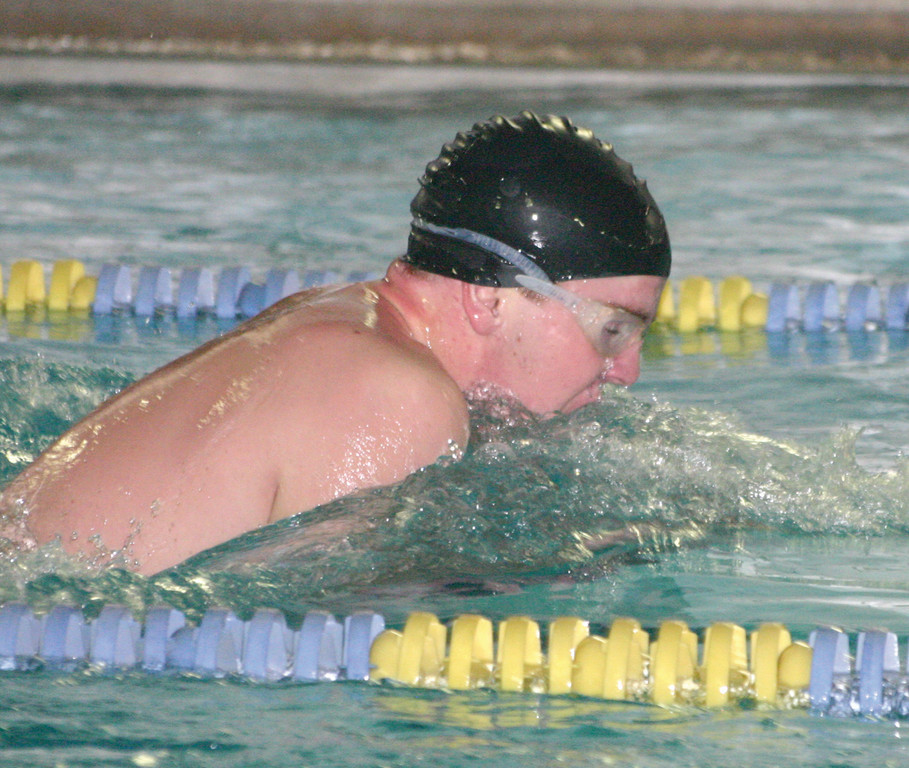 Jacob Fox competes in the 100 breaststroke.