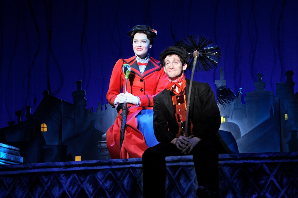 "Rachel Wallace as ""Mary Poppins"" and Case Dillard as ""Bert."""