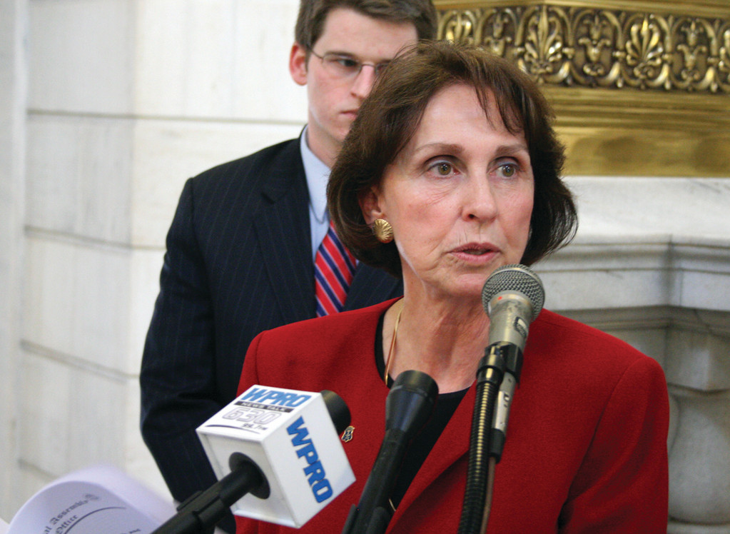 REPUBLICAN PACKAGE: Rep. Patricia Morgan of West Warwick outlines the series of bills the Republican Caucus will introduce to help create jobs and cut government costs Tuesday at the State House.