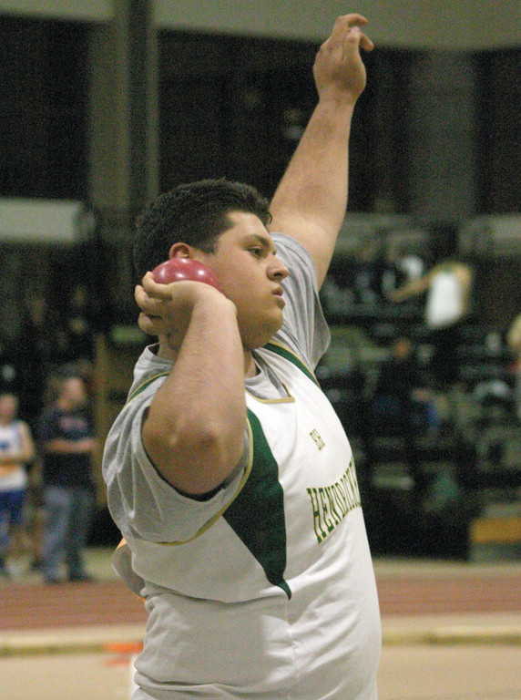 LINING IT UP: Hendricken's Nick DeCiantis, pictured earlier this season, will be looking to score points in the shot put for the Hawks.