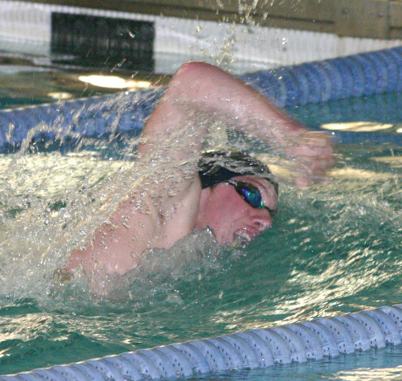 WINNING: Michael Fedorenko competes in the 100 freestyle earlier this year.