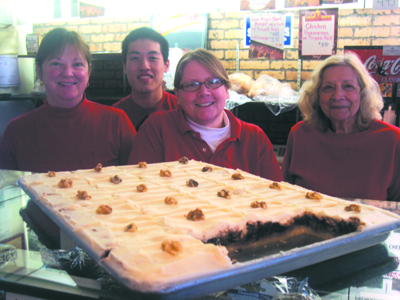 "Owner Kathy Ruginski, Vang ""Jack"" Thao, Chris Luiz, and Nancy Longiaru show off their scrumptious Blueberry Dream."