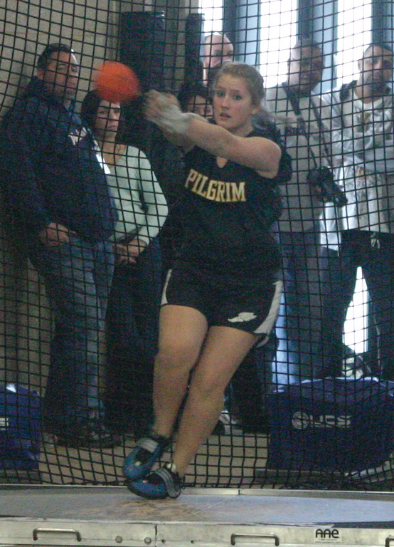 Pilgrim's Maggie Dufault took third in the weight throw on the girls' side.