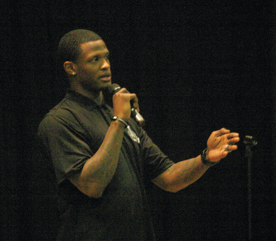 CHAMPION: Will Blackmon addresses the crowd at Hendricken during his appearance at the school last Thursday.
