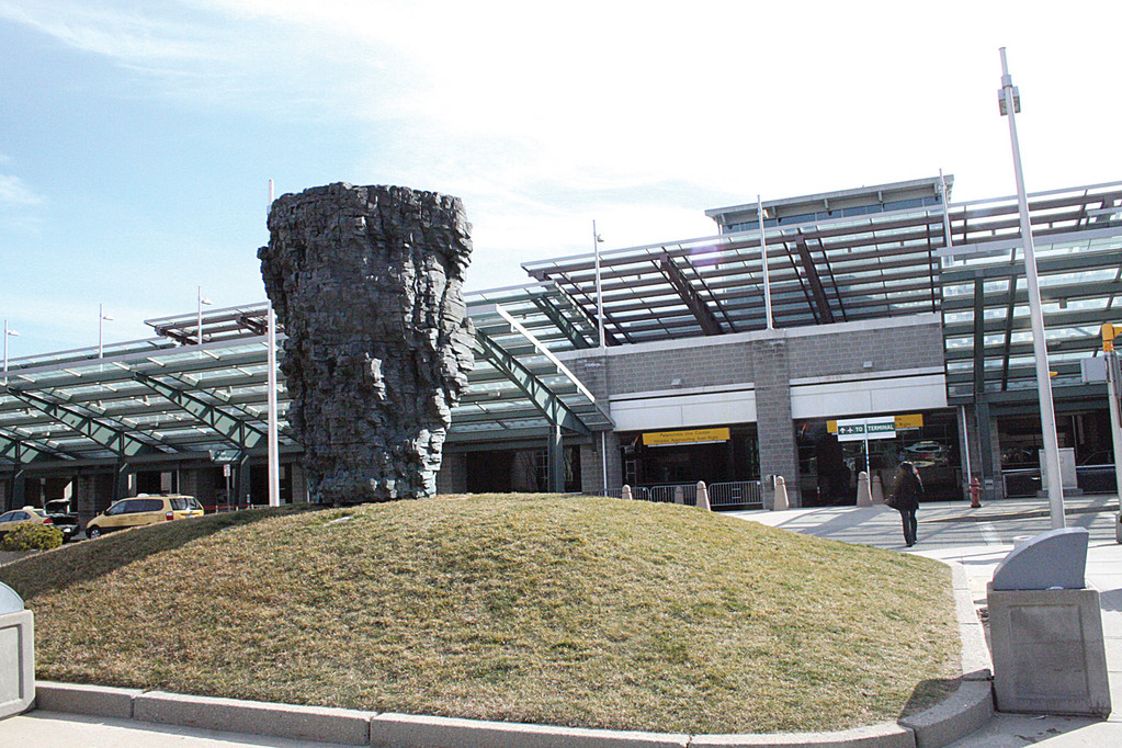 PUBLIC ART: This work by Ursula Von Rydingsvard was erected outside the terminal in 1997.
