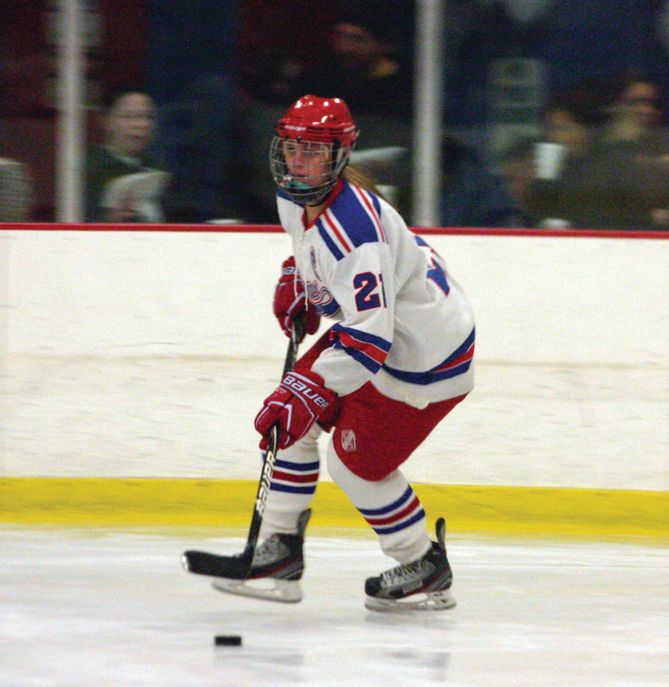 UP ICE: Warwick's Jamie Claeson looks for room on Saturday.