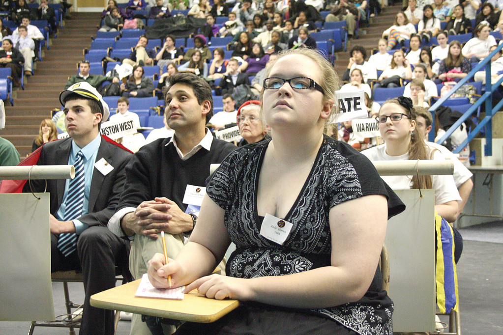 SERIOUS STUFF: Toll Gate academic decathlon team member Jade Harris ponders a question during the Super Quiz portion of the day-long competition held Sunday at the Knight Campus of CCRI.