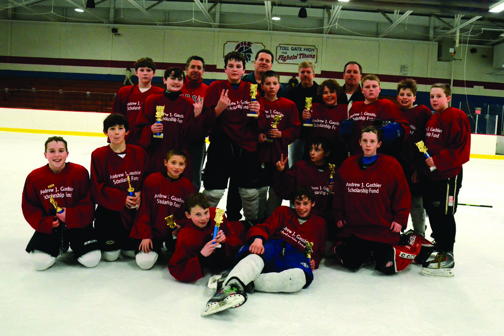 Andrew J. Gauthier Scholarship Fund, the runners-up in the PeeWee division, are comprised of Cam Murphy, Robert Hagerty, Steven Plante, Teddy Hackett, Jacob Mitchell, Trevor Matthews, Nick Sernberger, Evan Nerantes, Derek Plowman, Chris Leander, Michael Sullivan, Colin Czoson, Kevin Cloxton, Eric Roderick and Anthony Matola.