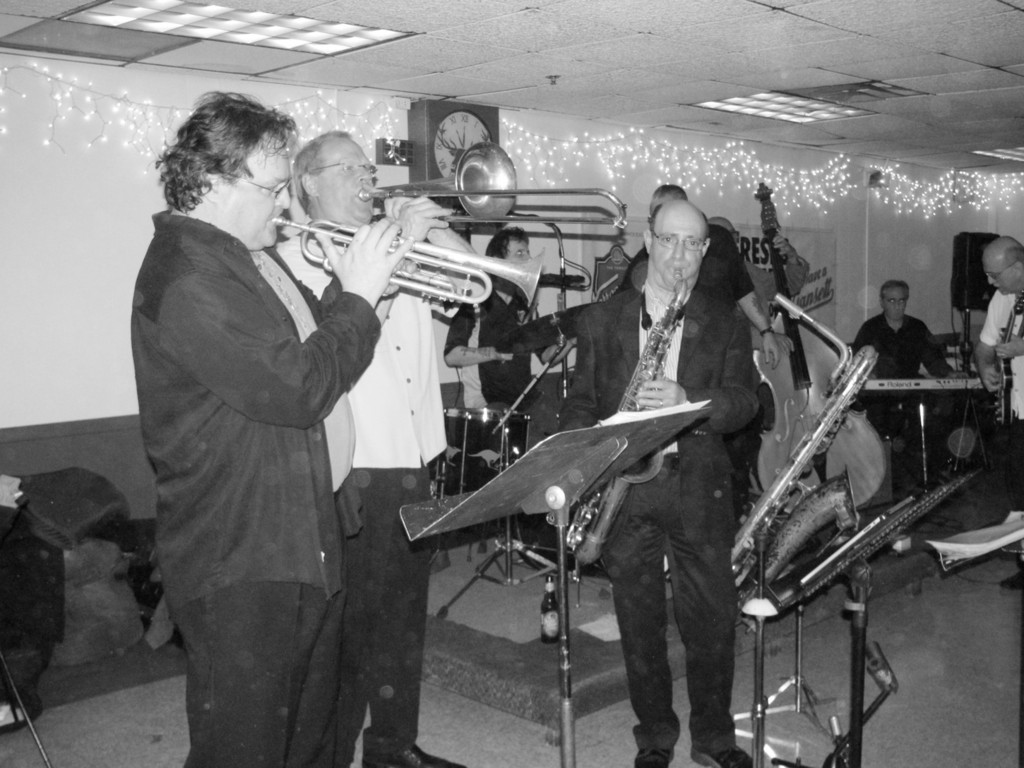 BIG SOUND: The brass second of Roger Ceresi's All-Starz Horns treated more than 200 people to their special sounds inside the Tri-City Elks Lodge 14 last Friday evening during a special four-hour show. The group includes, from left: John Abrahamsen on trumpet, Carl Queforth on trombone and Barry Fleischer on saxophone.