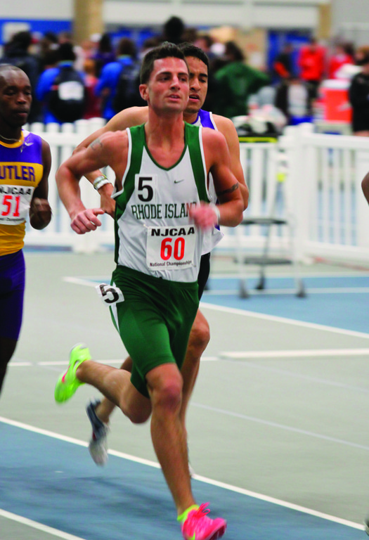 OUT IN FRONT: CCRI's Bobby Allen won the national title in both the mile run and the 3,000 in early March.