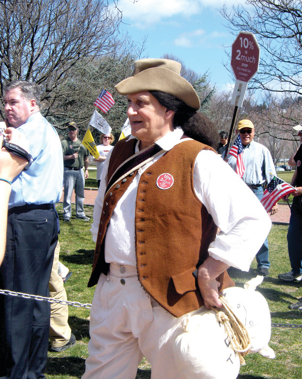 HISTORY REPEATED: Walter Thierfelder, a retired member of the colonial militia, came out in full garb to yesterday's meal and beverage tax protest. Thierfelder used to work as a bartender, and thought his costume would draw attention to the issue and the movement.
