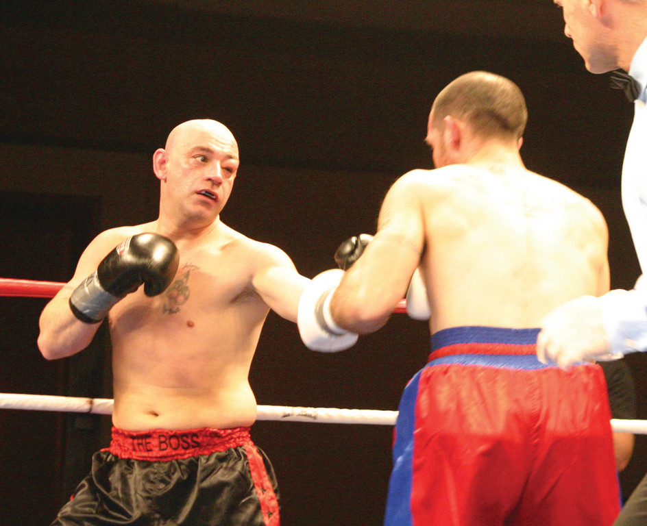 IN THE RING: Benny Costantino, left, fractured an orbital bone during Thursday's fight.