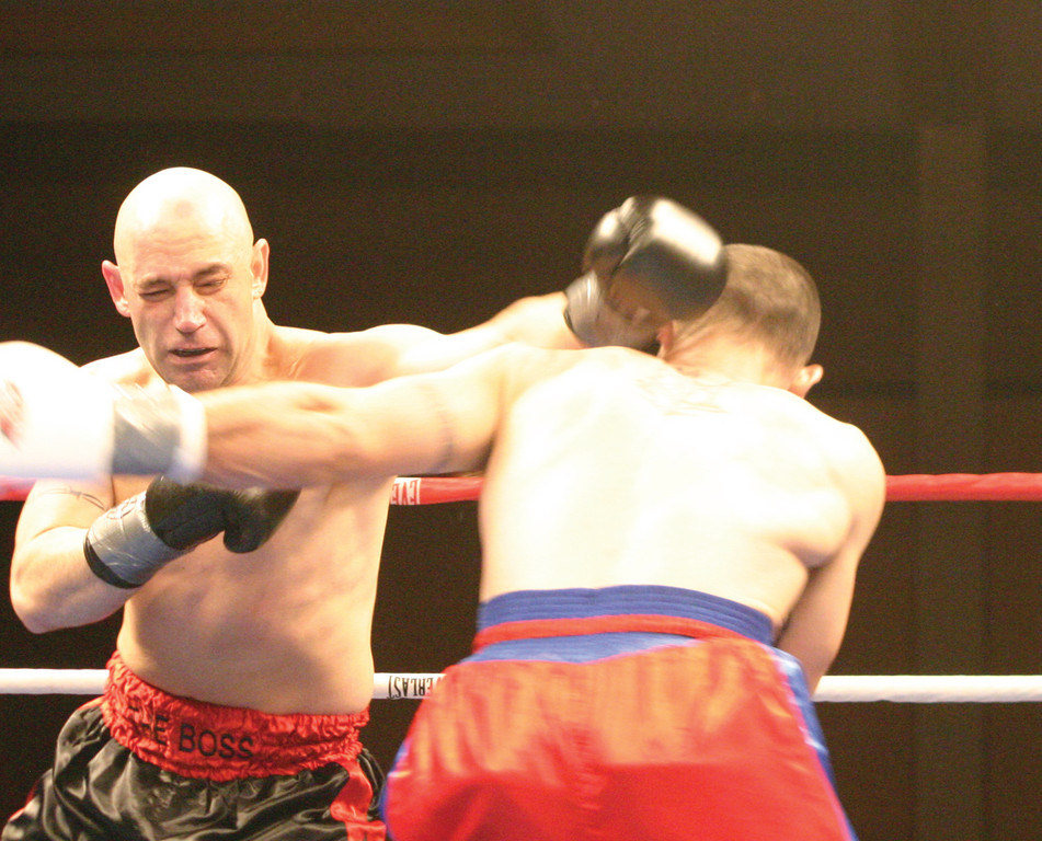 BIG PUNCH: Benny Costantino lands a left hook on Yolexcy Leiva during Thursday's fight at Twin River.