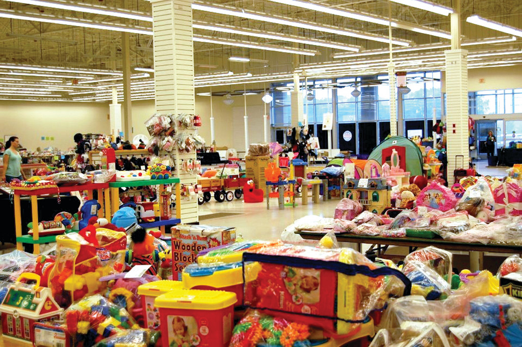 A SEA OF TOYS: Items at the sale include toys, games, bicycles, gaming systems, outdoor toys, clothing, shoes and more. Christine Wilford, co-founder of the sale, estimates that this weekend�s sale will include approximately $200,000 of merchandise.