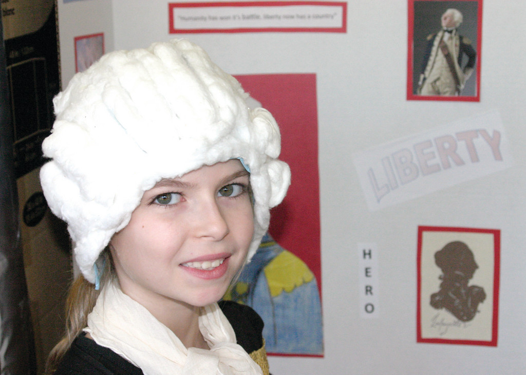 "EDUCATIONAL EXHIBIT: For Abigail Langevin, 10, who played Marquis Lafayette, the assignment was fun. ""I got to learn about a lot of historical people,"" she said."
